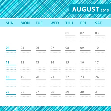 August 2013 planning callendar with space for notes. Checked bluetexture in background. Vector