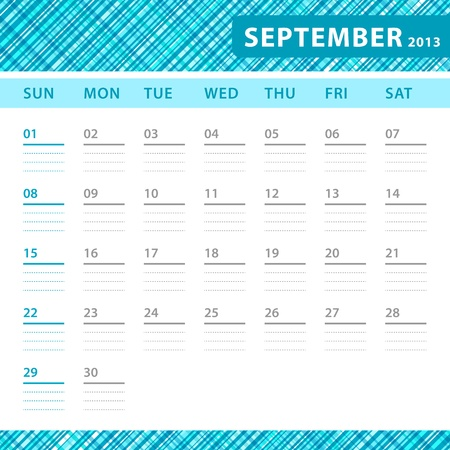September 2013 planning callendar with space for notes. Checked blue texture in background. Stock Vector - 18197239