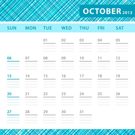 October 2013 planning callendar with space for notes. Checked blue texture in background. Stock Vector - 18197293