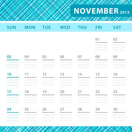 November 2013 planning callendar with space for notes. Checked blue texture in background. Stock Vector - 18197237