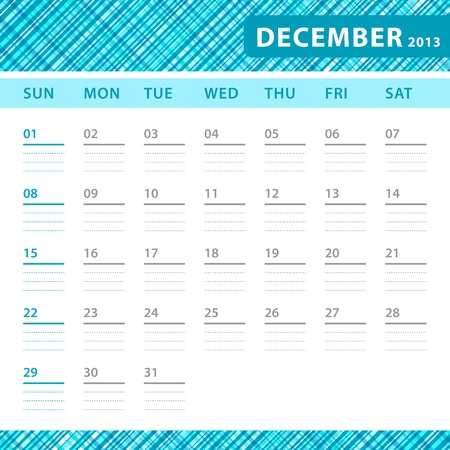 December 2013 planning callendar with space for notes. Checked blue texture in background. Stock Vector - 18197295