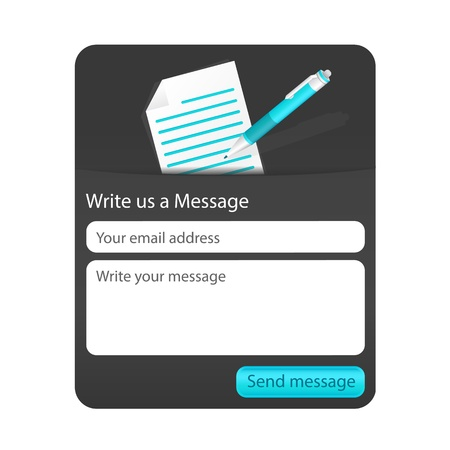 Dark contact us form with light document and blue ballpoint. Form for web and mobile devices Illustration