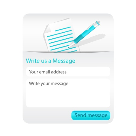 Contact form with light paper and blue ballpoint. Element for websites and mobile applications. Stock Vector - 18197226