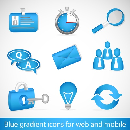 Set of blue gradient icons for web applications and mobile devices Vector
