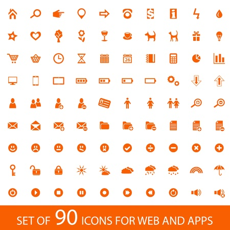 sound system: Set of 90 orange icons for web and mobile devices