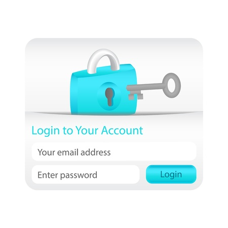 account form: Login to your account form for websites and applications with lock icon and grey key Illustration