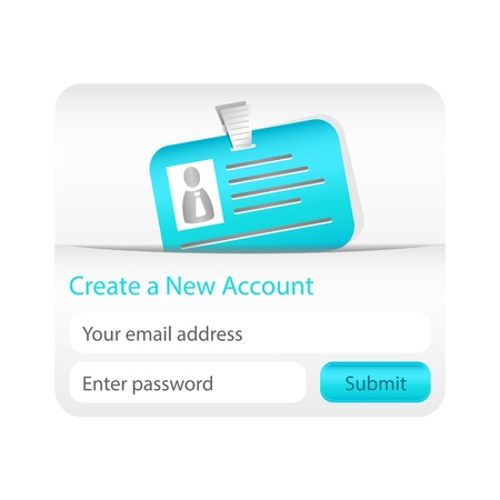account form: Create a new account form with light blue ID card. Element for websites and mobile applications