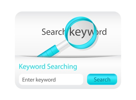 Keyword searching website element with magnifying glass Vector