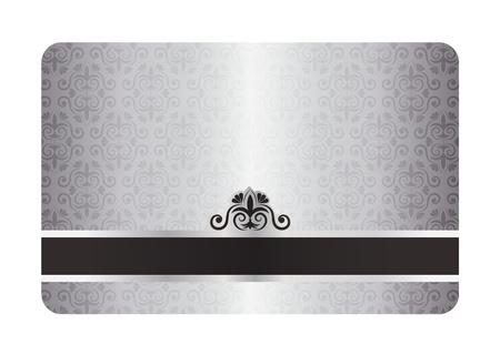 membres: Carte argent�e de luxe avec motif vintage et �tiquette noire