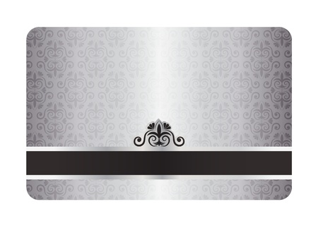 Luxury silver card with vintage pattern and black label Vector