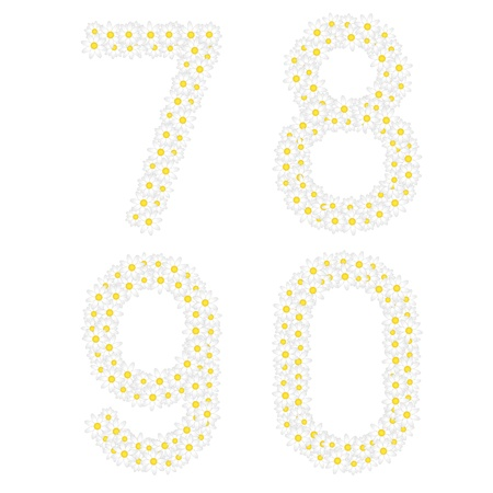 oxeye: Figures 7890 composed from daisy flowers  Complete alphabet in the gallery