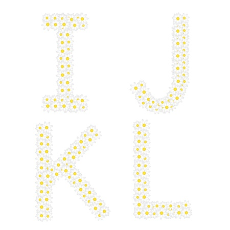 oxeye: Letters IJKL composed from daisy flowers  Complete alphabet in the gallery  Illustration
