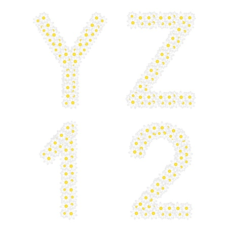 xyz: Letters YZ and 1 2 figures composed from daisy flowers  Complete alphabet in the gallery