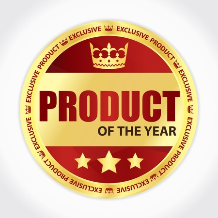 Product of the year badge with golden ribbon and red background Vector