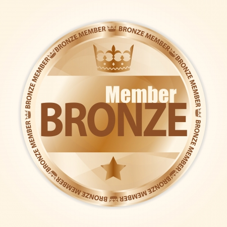Bronze member badge with royal crown and one star Stock Vector - 18418091