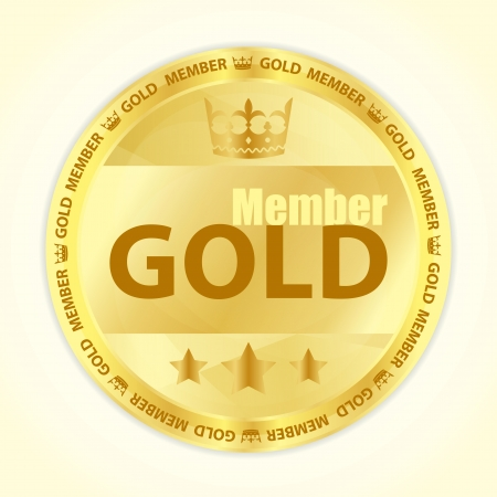 koninklijke kroon: Gold member badge met koninklijke kroon en drie gouden sterren Stock Illustratie