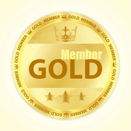 vip symbol: Oro insignia miembro con corona real y tres estrellas de oro