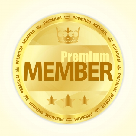 membership: Badge with title Premium member in gold color
