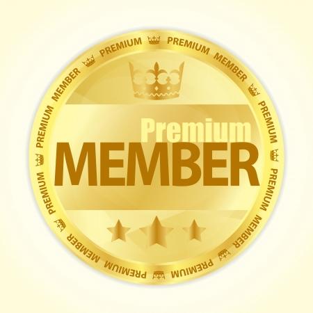 Placa con el miembro título Premium en color dorado Ilustración de vector