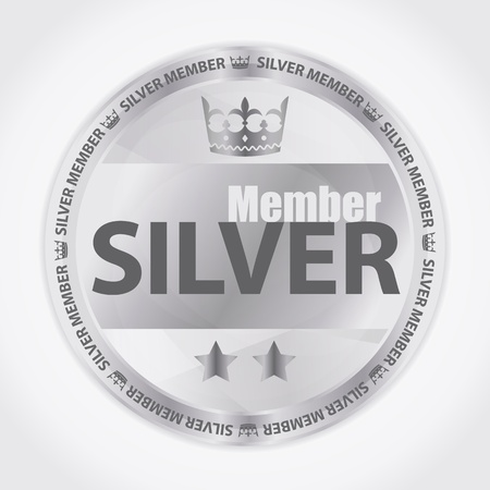Silver member badge with royal crown and two stars