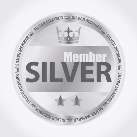 vip symbol: Silver miembro insignia con la corona real y dos estrellas Vectores