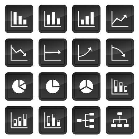 bar chart: Icons of various charts and diagrams with black buttons in background