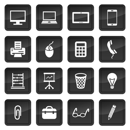 Icons of office devices and equipment with dark buttons in background