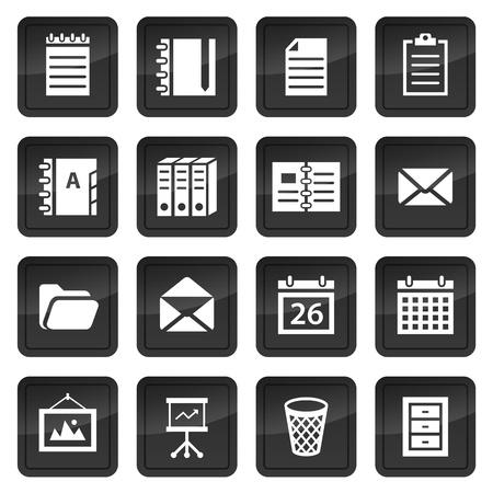 storage bin: Office and document icons with black buttons with shadow