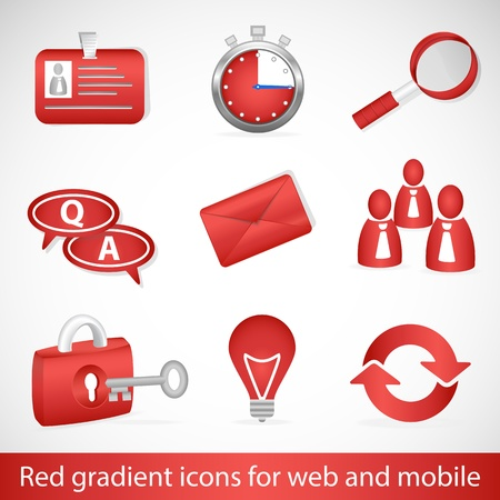 Red gradient icons for web applications and mobile devices Vector