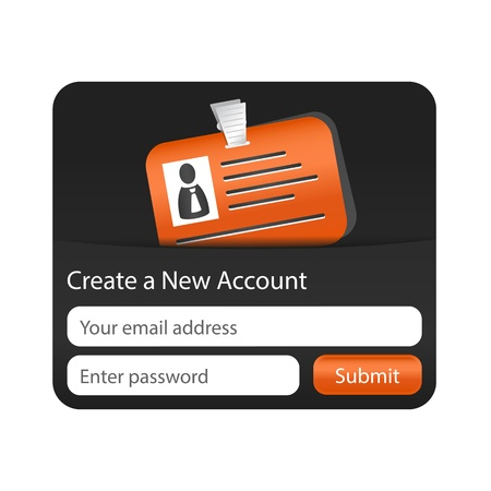 account form: Create a new account form with orange ID card. Element for websites and mobile applications