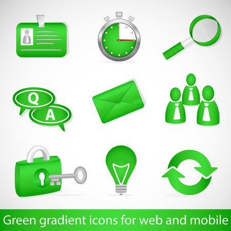 Green gradient icons for web applications and mobile devices Vector
