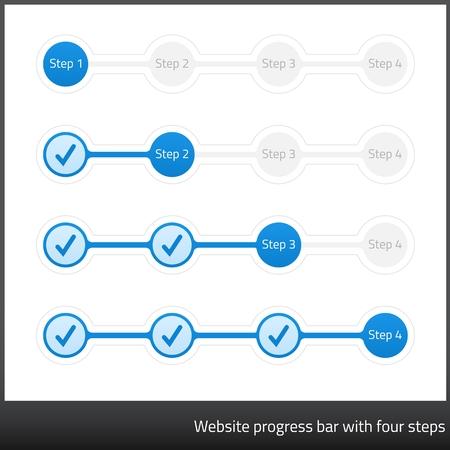 4 つのステップでウェブサイト進歩バー
