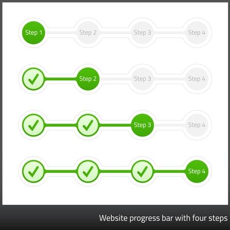 Website progess bar with four steps