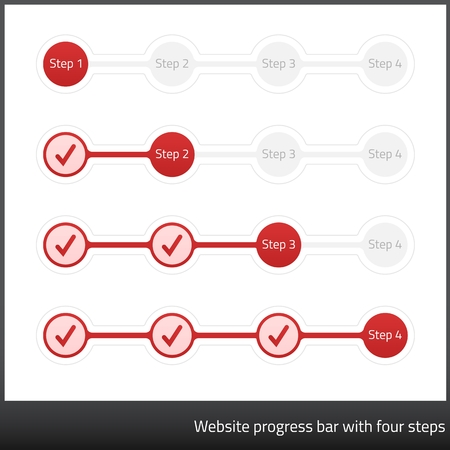 three phase: Website progess bar with four steps