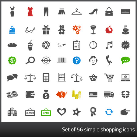 Set of 56 dark grey icons related to shopping with white background