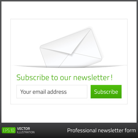 Light Subscribe to newsletter form with white background and button in 4 green tones