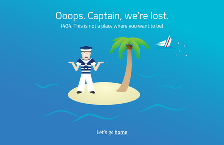 inactive: 404 web page. Sailor on desert island theme.