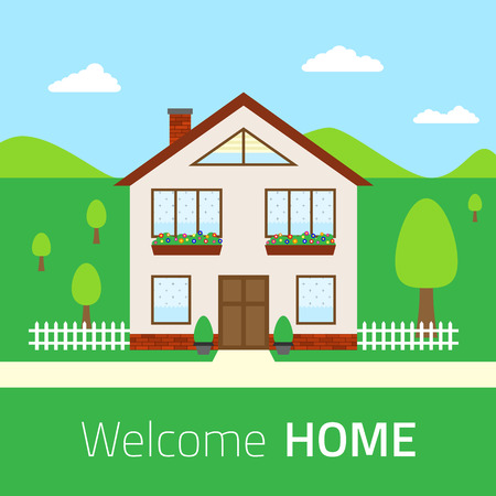 welcome home: Flat Welcome home illustration