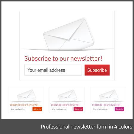 Abonnez-vous à la lumière sous forme de bulletin avec fond blanc