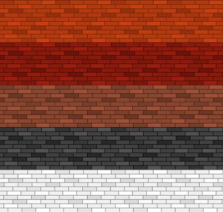 paredes de ladrillos: Seamless patrón de ladrillo en 5 colores