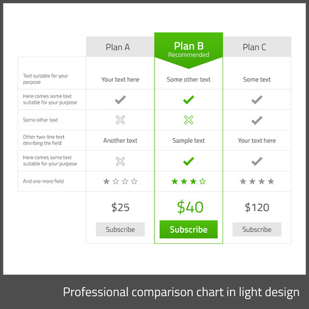 Comparison table for 3 products in light flat design with blue elements Vector
