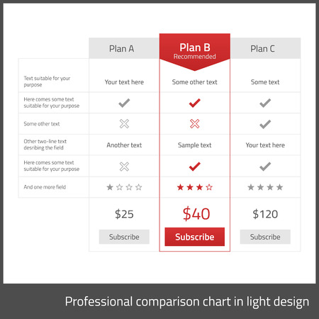 Comparison table for 3 products in light flat design with red elements Ilustração