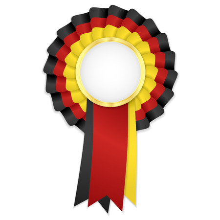 award ribbon rosette: Tricolor rosette with black, yellow and red ribbon and golden frame