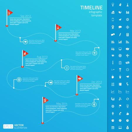 Tijdlijn infographic sjabloon met set van opstartpictogrammen