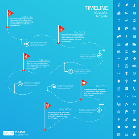 history month: Timeline infographic template with set of startup icons