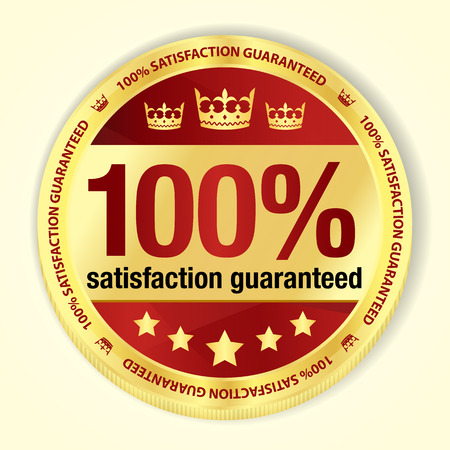 top class: Red 100  satisfaction guaranteed badge with golden frame