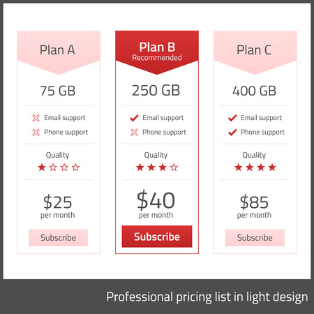 description: White pricing list with red elements Illustration