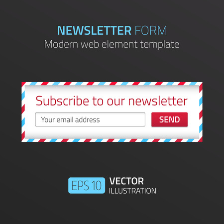 Modern newsletter form template with design of airmail