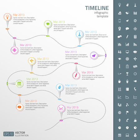 Timeline template in sticker style with set of icons  Light background Illustration