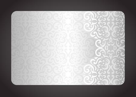 Luxe zilveren kaart met vintage patroon